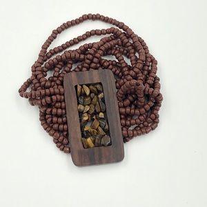 Jewelry - Stones and wood stretch bracelet
